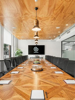 Executive meeting room space with video conferencing for up to 22 guests